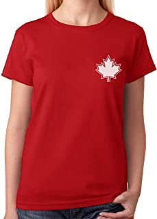 Canada Day Maple Leaf Pocket Print Canadian Patriotic Women T-Shirt