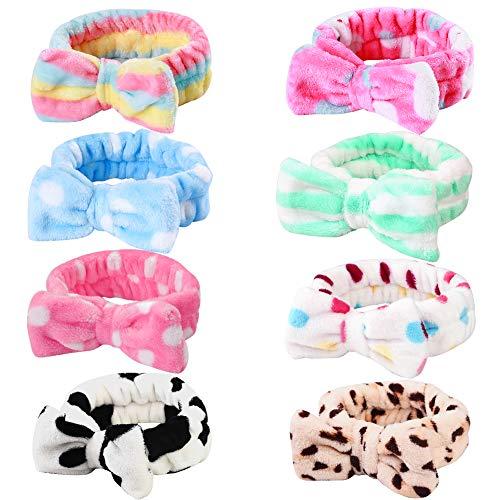 8 Pack Spa Headband, Coral Fleece Makeup Headband Cosmetic Headband for Washing Face, Bow Headbands for Shower Terry Cloth Headbands for Women Facial Hair Band