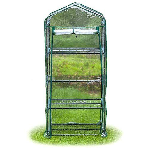 QSCZZ Outdoor Four-Layer Mini Greenhouse Zipper PVC Greenhouse, Green Growing House with Frame, Used for Garden Balcony Planting (69 X 49 X 160CM)