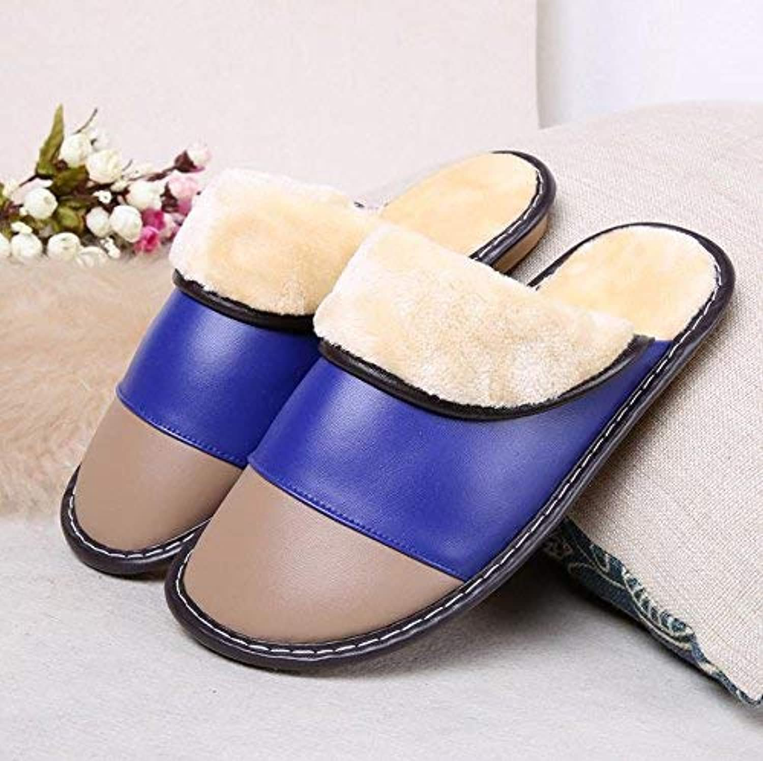 Men 's Home Leather Slippers Indoor Keep Warm Casual Slippers Mixed color bluee shoes Personality Quality for Men Large
