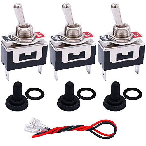 TWTADE 3 Pcs Toggle Switches 2 Pin 2 Position ON/Off SPST Heavy Duty Rocker Toggle Switch 16A 250VAC Spade Terminal Metal Bat Switch with Waterproof Boot Cap and 6.3mm Terminal Wires TEN-1021MZX