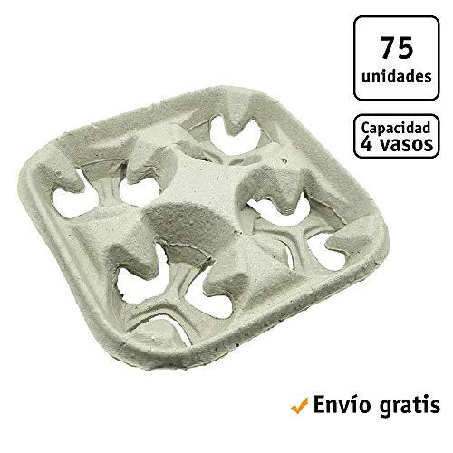 TELEVASO - 75 uds - Portavasos de fibra de papel, ecológicos - Capacidad para 4 vasos - Aislantes del calor - Ecológicos, biodegradables y reciclables - Ideal para llevar vasos de cafe, te, infusiones