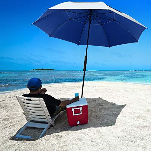 G4Free 68 Inch UV 50+ Beach Umbrella Golf Umbrella, Auto Open Oversize Extra Large Windproof Sun Rain Umbrellas, Great for Outdoor Golf Patio Beach(Silver/Blue)