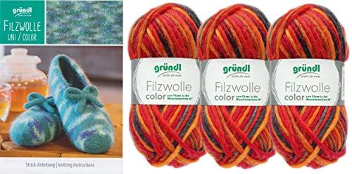 3x50 Gramm Gründl Filzwolle Color Wolle SB-Pack Wollset inkl. Anleitung für gestreifte Filzhausschuhe mit 2 Strasssteine zum aufnähen (21 Rot Orange Mix)