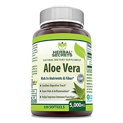 Herbal Secrets Aloe Vera Natural Dietary Supplements, 120 Softgels, 5000 Mg by Herbal Secrets