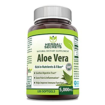 Herbal Secrets Aloe Vera Natural Dietary Supplements 120 Softgels 5000 Mg
