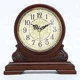 Legno massello orologio da tavolo in legno classico orologio muto...