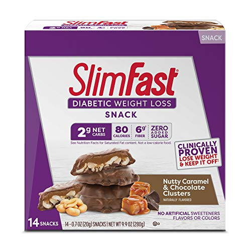 SlimFast Diabetic Weight Loss Snack - Nutty Caramel & Chocolate Clusters - 20g - 14 Count - Pantry Friendly