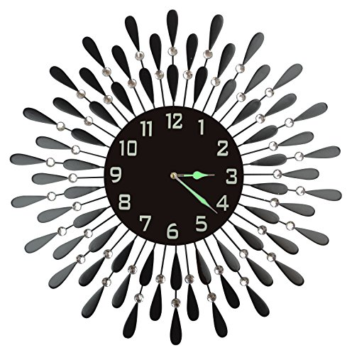 LuLu Decor Extra Large Decorative Black Drop Wall Clock