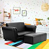 Costzon Children Sofa with Footstool, Upholstered Couch, Sturdy Wood Construction, 2 Seat Armrest Chair Lounge for Preschool Kids Toddlers Boys & Girls, ASTM and CPSIA Certified (Black)
