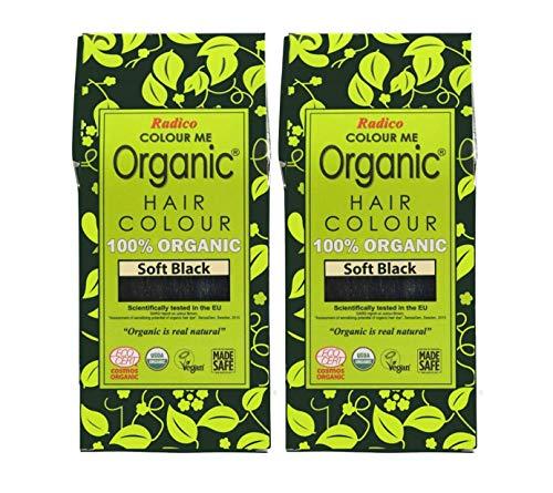 Radico 100% Organic Soft Black Hair Color (USDA Organic & Eco-Cert Certified) Pack of 2