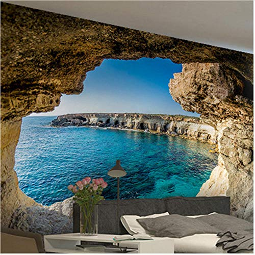 xbwy Wallpaper Modern Simple Cave Seascape Nature Mural Living Room Bedroom Interior Decor-350X250Cm