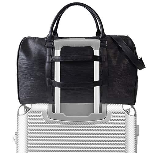 Weekender Duffle Bag Carry Travel Shoulder Tote Vegan Leather Unisex Luggage Sleeve Duffel (Black-05)