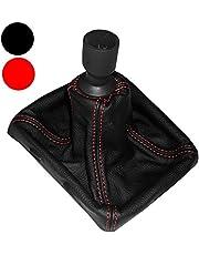 AERZETIX - Funda para palanca de cambios - 100% Piel Genuina - Color de Piel: Negro - Color de Costuras Variables
