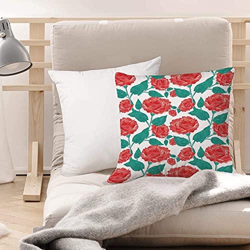 Funda de Cojines Suave Poliéster,Decoraciones de rosas, Vintage inspirado en colores pastel,Funda de Almohada Cremallera Oculta Duradero Decoración para Sofá Cama Dormitorio Aire Libre Oficina 45x45cm