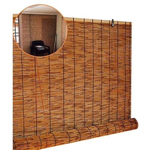 ZDDY Natürliche Bambus-Rollo-Fensterläden Sun Shade Roll Up Reed-Jalousie wasserdichte Retro-Dekorationsvorhänge Raffrollos für Innen- / Außen- / Sondergrößen. (Größe : 80 * 100cm/31.5 * 39in)