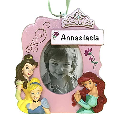 Disney Princesses Photo Holder Personalized Christmas Ornaments for Kids – Charming 2021 Christmas Ornament for Disney Christmas Tree – Disney Christmas Decorations - Collectible Disney Ornaments