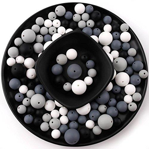 baby tete Silikon Kinderkrankheiten Perlen Runde kaubare (12-20mm) 200pcs DIY Halskette Armband Baby Schnullerkette Schmuck Komponenten Flasche BPA Frei Schwarz und Weiß