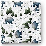 Aenne Baby Muslin Swaddle Blanket Tribal Bear Woodland Gender Neutral Large 47 x 47 inch, 1 Pack, Girl Boy Nursing Cover, Wrap