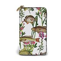 財布 ツ 綺麗な魚柄 レディース メンズ 長財布 本牛革 大容量 カードケース スマホ入れ可 ラウンドファスナー ウォレット L字ファスナー小銭入れ 磁気防止 人気 RFID プレゼント