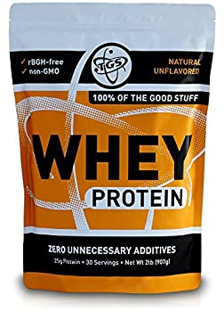 TGS 100% Whey Protein Powder Unflavored Unsweetened Keto Friendly - 2lb - All Natural Low Carb Low Calorie No Soy Made in USA