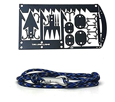 Lone Llama 22 in 1 Credit Card Survival Tool and Paracord Bracelet Bundle with Fish Hook Pendant - Emergency Fish Hook,Saw, Needles,Snare Locks,Tweezers,Fishing Lure from The Lone Llama