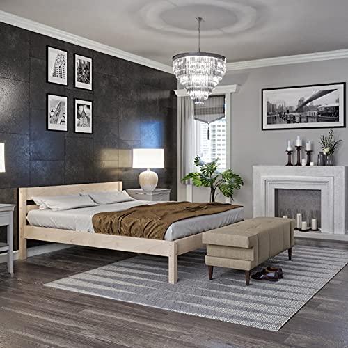 Holzbett 160x200 cm Kaja Scandi Style aus unbehandeltem hartem FSC Birken Massivholz - über 700 kg - Doppelbett Bettgestell mit Kopfteil - Ehebett