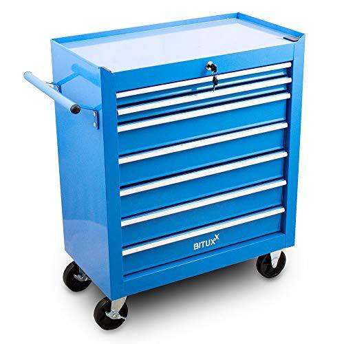 Bituxx Werkstattwagen Werkzeugwagen Werkzeug Rollwagen Werkzeugkiste mit 7 Fächer Blau