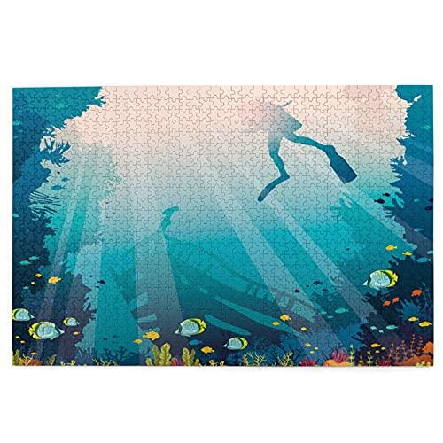 KIMDFACE Rompecabezas Puzzle 1000 Piezas,Silueta,de,un,Buzo,hundido,Barco,y,Arrecife de Coral,Educa Inteligencia Jigsaw Puzzles para Niños Adultos