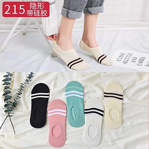 5Pairs Damen Socken Lustige Früchte Nette Happy Silicone Slip Unsichtbare Baumwollsocke 35-Navy Blue