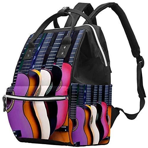 LORVIES Wickeltasche, mexikanische Gitarre, Wickeltasche, Rucksack mit isolierten Taschen, Kinderwagenriemen, große Kapazität, multifunktionale, stilvolle Wickeltasche für Mama und Papa im Freien