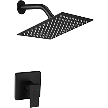 JingGang Matte Black Shower Faucet Set, Bathroom Single Function Rainfall Shower System with Square Rain Shower Head, Shower Trim Kit with Rough-in Valve