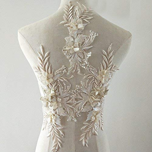 3d Lace Appliqué Flower Patch Great for DIY Decorated Craft Sewing Costume Evening Bridal Top 3 in 1 A5 (Champagne)
