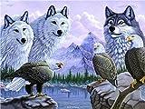 UJIFKAG Pintura por Números,Lobos Y Águilas, DIY Pintura Al Óleo Kit De Pintura por Números, Pintura Al Óleo para Niños Principiantes Adultos, Regalo Decoraciones Hogar(40 X 50 Cm)