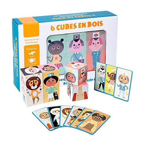 Aibecy Rompecabezas de madera, juego de bloques, cubos, juego STEM Montessori, regalo, educación preescolar para niños y niñas a partir de 3 años