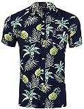 Loveternal Camisa Piña Hombre Camiseta Estampada Hawaiana Vacaciones Impresa 3D Funky Summer Cotton Floral Shirt Negro L