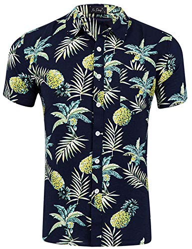 Loveternal Herren Sommer Kleidung Hippie Casual Ananas Hawaiihemd Herren Slim Fit Grillparty Kurzarm 3D Shirts Schwarz L