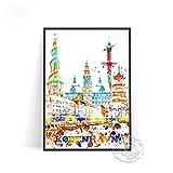 shuimanjinshan Carteles de la Ciudad del Mundo Londres Las Vegas Wien Koln Praha Arte de la Pared Decoración Estocolmo Budapest Venezia Pegatinas de Pared(PW-8) 50x70cm Sin Marco