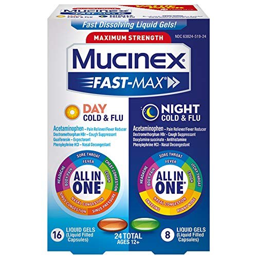 Mucinex Fast-Max Max Strength, Day Severe Cold & Night Cold & Flu Liquid Gels, 24ct