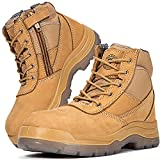 ROCKROOSTER Men's Work Boots, Steel Toe, YKK Zipper, 6 inch, Slip Resistant Safety Leather Shoes, Static Dissipative, Breathable, Quick Dry(AK050 Brown, 5)