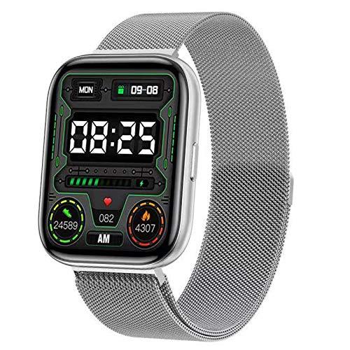 QFSLR Smartwatch, Reloj Inteligente Mujer Hombre con Oxigeno(Spo2), Monitor De Presión Arterial Contador Caloría Pulsómetros Pulsera Actividad Inteligente para Android Y iOS,Plata