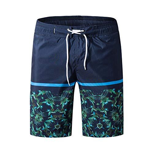 YOYVV blau Bedruckte Strandtaschen-Shorts für Herren, schnell trocknende, lose Jogginghose mit Basketball-Surf-Dark_Blue_XXXL
