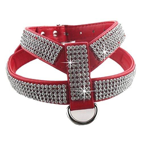 WUKONG99 - Pettorina con guinzaglio e pettorale, con strass, per Chihuahua, Yorkshire Terrier, per cani