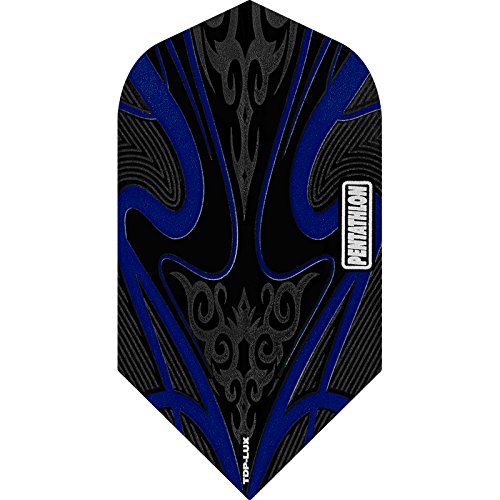 PENTATHLON TDP Lux Dart Flights, Black Series–Slim, 5Sets (15) dunkelblau–inklusive Darts Ecke gebogen Kugelschreiber