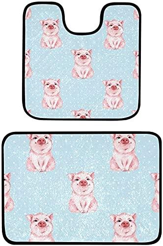 Soft Toys Gosmao Alfombras de baño de 2 piezas (juego de dos 50x81 cm / 50x50 cm) Tapera de baño antideslizante y conjunto de pedestal ABSORBENTE EXTRA ABSORBETE 100% POLIPROPILENO BAÑO DE POLIPROPILE