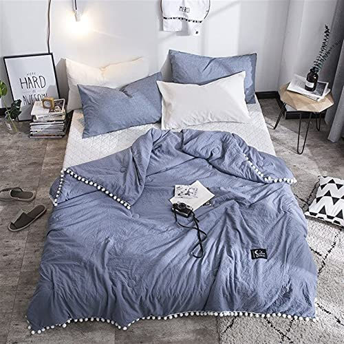 Zasinege Colcha de verano súper suave con encaje de color sólido lavado mecánico edredón de hotel para edredones de cama (color: azul, tamaño: 180 x 210 cm)