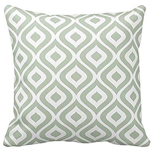 Dana34Malory - Federa decorativa per divano, motivo geometrico verde salvia e bianco, 40,6 x 40,6 cm