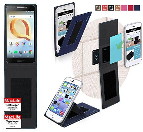 reboon Hülle für Alcatel A30 Plus Tasche Cover Case Bumper | Blau | Testsieger