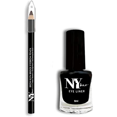 NY Bae Black Matte Liquid Skeyeliner and Black Eyebrow Pencil - Matte Finish, Highly Pigmented, Long Lasting & Smudge Proof - Cruelty Free