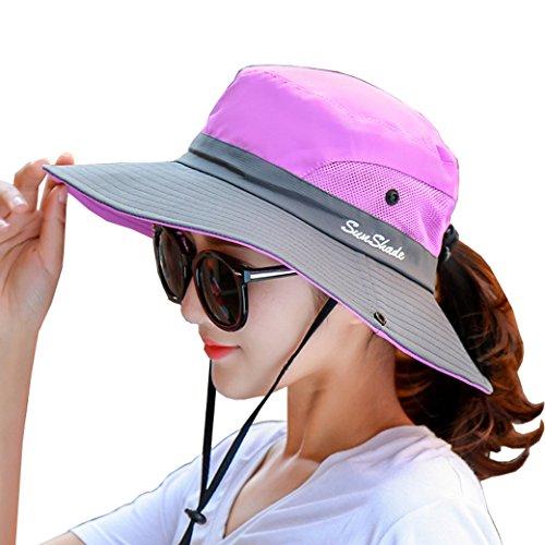 Lujuny Derby-Sonnenhut für Damen, mit UV-Schutzfaktor für Wandern, Safari, Garten, Angeln, Klettern, violett